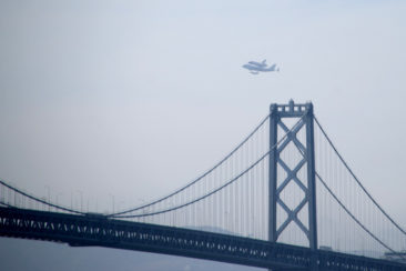 Endeavour Over the Bay Bridge