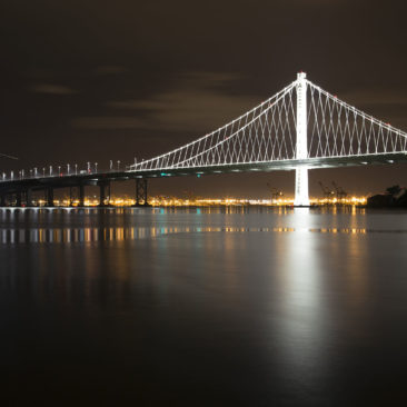 The Eastern Span of the Bay Bridge at night.