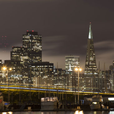 San Francisco at night as seen from Treasure Island.