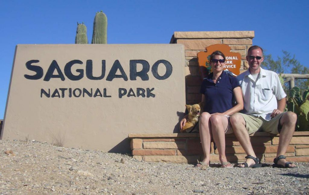 Andrea, Kirk and J.T. at Saguaro National Park